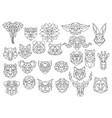 Set polygonal animal portraits collection of