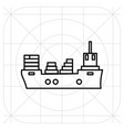 ship icon flat black pictogram on background vector image