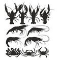 silhouettes crabs shrimps and crayfish vector image