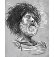 Smoking Bearded smoker Sailor - Hand drawn vector image