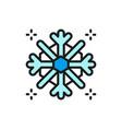 snowflake snow winter flat color line icon vector image vector image