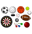 Sport items with balls puck and darts vector image vector image