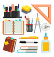 stationery icons pen pencil notebook vector image