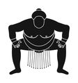 Sumo wrestler icon in black style isolated on vector image