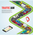traffic jam and road way location mobile gps vector image vector image