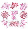 vintage rose filigree paper cut set vector image vector image