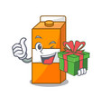 with gift package juice mascot cartoon vector image