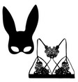 women bra with rabbit ears mask fashion vector image