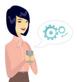 young asian business woman holding a mobile phone vector image vector image