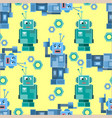seamless pattern with cute robots vector image