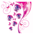 Abstract background with pink viola and butterfly vector image