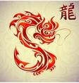 Fire dragon tattoo shape vector image