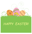 green background with Easter eggs - Happy Easter vector image