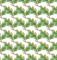 Watercolor Seamless pattern with oak leaves vector image
