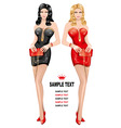 ladies in red and black vector image