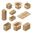 3d isometric set of cardboard packaging vector image vector image