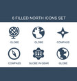 6 north icons vector image vector image