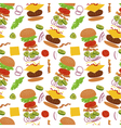 Burgers and ingredients for cheeseburger seamless vector image vector image