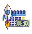 business calendar money and rocket vector image