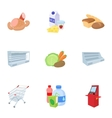 Buying products in store icons set cartoon style vector image vector image