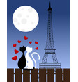 cats and eiffel tower vector image vector image