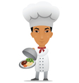 chef with a main course vector image