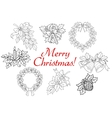 Christmas and New Year holiday decorations set vector image