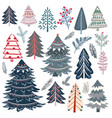 collection abstract christmas trees for design vector image vector image