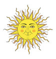 colored sun with human face symbol vector image