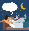 colorful scene boy dreaming in sofa at night vector image vector image
