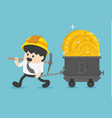 concept with businessman miner and coins working vector image vector image