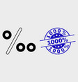 contour per mille icon and distress 1000 vector image vector image