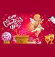 cupid with love potion red hearts chocolate cake vector image vector image