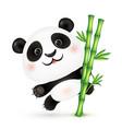 cute panda on bamboo stick vector image