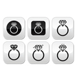 Diamond engagement ring buttons set vector image vector image