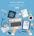 doctors workplace and medical diagnostics concept vector image vector image