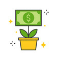 dollar bill tree icon business and investment vector image