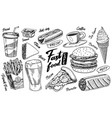 fast food burger and hamburger tacos and hot dog vector image