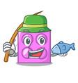 fishing toy brick mascot cartoon vector image