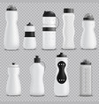fitness bottles realistic set transparent vector image vector image