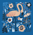 flamingo flat hand drawn vector image