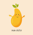 funny cute pear character design vector image vector image