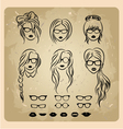 girls faces with hair sunglasse shape of the lips vector image vector image