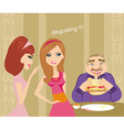 girls gossiping about fat guy vector image vector image