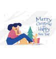 greeting card template for new year and christmas vector image vector image