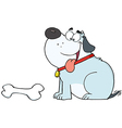 Happy Gray Fat Dog With Bone vector image vector image