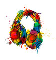 headphones made colorful splashes vector image vector image