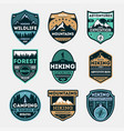 Hiking expedition vintage isolated label set