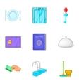Hotel accommodation icons set cartoon style vector image