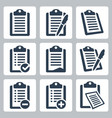 isolated clipboard checklist icons set vector image